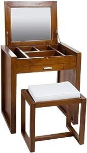 Hogar Decora Mueble tocador con Taburete a Juego cojín Blanco, un cajoncito,Compartimentos y Espejo abatible