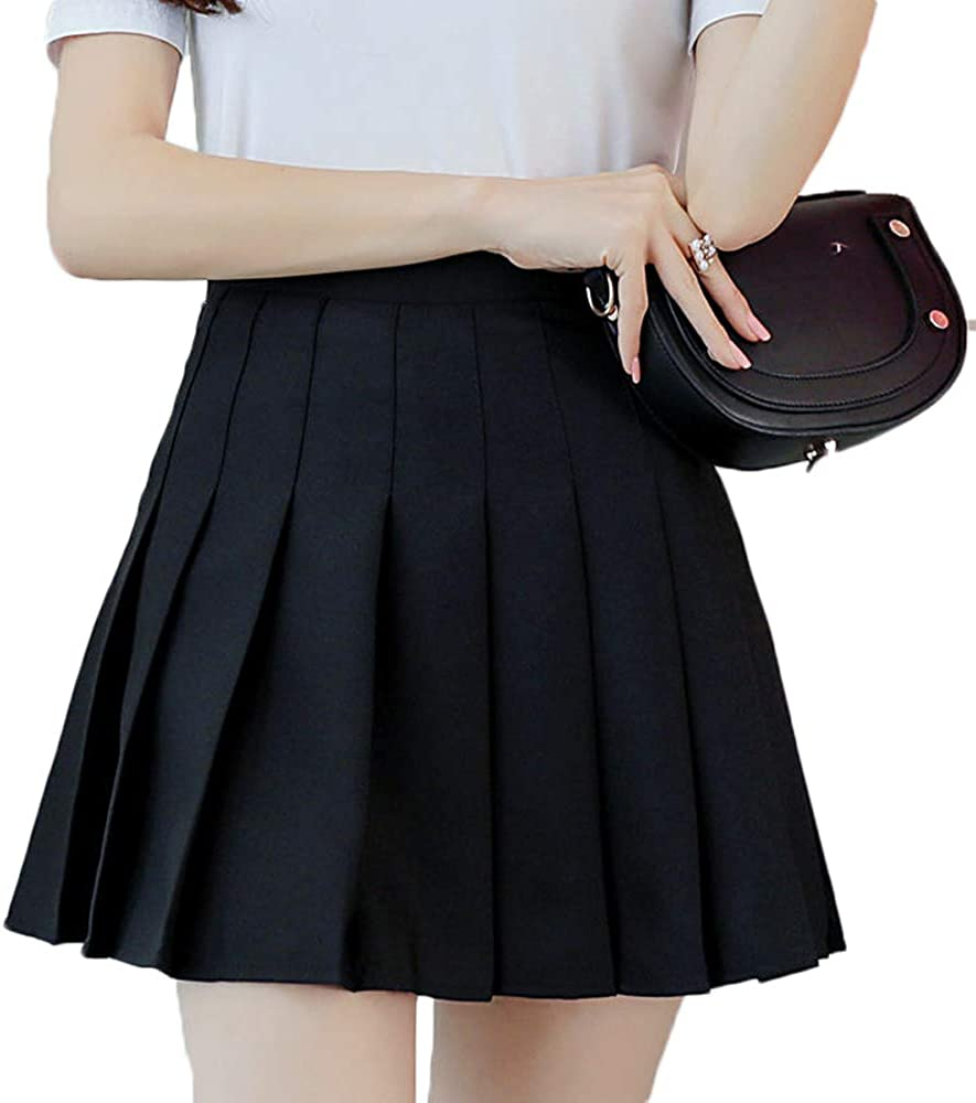 Girls Women High Waisted Plain Pleated Skirt with Underpants Skater Tennis School Uniforms A-line Mini Skirts