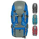 HIGHLANDER Zaino Discovery 65L - Zaino Leggero da Trekking con Coperchio Impermeabile - Ideale per Camminare, Viaggiare, Fare Trekking, campeggiare e spedizioni DofE - Color Blu (Blu)