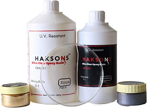 Haksons Ultra Clear Grade 1 Epoxy Resin and Hardener (1300 gms) with 2 Pearl Powders