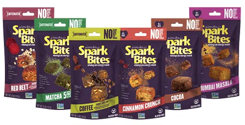 SPARK BITES - Variety Pack of 6 (one of each flavor) Allergen Free Vegan Healthy Energy Snack - A Steady Release of Wholesome Energy with NONE OF THE TOP 8 ALLERGENS - Vegan, Non-GMO, Gluten-Free