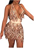 L'VOW Women's Glitter Sexy Deep V Neck Sequin Beaded Halter Bodycon Mini Nightclub Party Dresses (Champagne, M)
