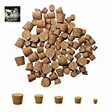 5 Sizes: there are 5 different sizes of wine corks available,0.35 x 0.24 x 0.39inch, 0.55 x 0.47 x 0.39inch, 0.59 x 0.51 x 0.39inch, 0.71 x 0.51 x 0.59inch, 0.86 x 0.71 x 0.79inch Product quantity: you can get 100 packs of tapered cork plugs of 5 dif...