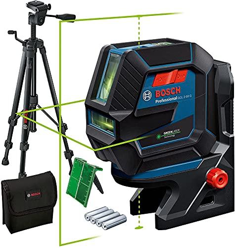 Bosch Professional Livella Laser GCL 2-50 G (laser verde, supporto RM 10, treppiedi BT 150, raggio d'azione visibile: fino a 15 m, 4x batterie AA, confezione in cartone)