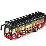 Xolye Voice-Double-Layer-Cabrio-Bus-Modell 2 Farben Optional Big Bus Bus Metall zieht Spielzeug-Auto-Simulation Ton und Licht Tür entriegelt Kinderspielzeugauto (Color : Rot)