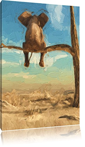 Pixxprint Elefant auf einem AST in der Wüste als Leinwandbild | Größe: 80x60 | Wandbild| Kunstdruck | fertig bespannt