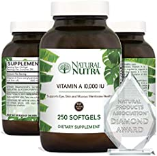 Natural Nutra Vitamin A 10,000 IU, Retinol Palmitate Dietary Supplement from Cod Liver Oil, Extra Strength for Eye, Skin, Nails and Immune Health with Omega 3, 250 Gluten Free Softgels