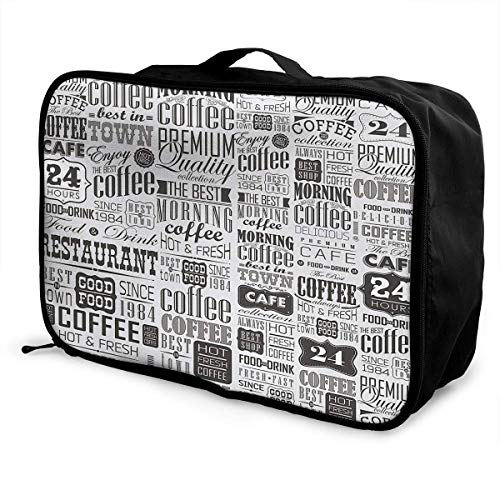 Borse da viaggio,Tote da viaggioVintage Coffee Tin Logo Collection Travel Fashion Large Capacity Portable Waterproof Foldable Storage Carry Luggage Bag Luggage Tote Bag Hanging Travel Toiletry