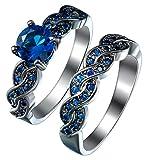 Bigood Royal Blue - Juego de anillos de boda redondos de cristal de circonita cúbica en acero inoxidable de 18 K y banda negra