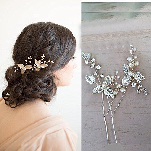 DHE04 Accessoire à cheveux pour mariée fait à la main avec fleurs en cristaux 3D et feuilles argentées peintes à la main et perles d'eau douce