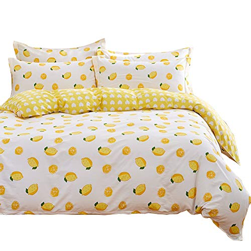 "HOLY HOME Duvet Cover Mini Set Acrylic Fiber-Mixed Cotton Simple Style Anti-Bacterial & mite 4 Pieces Beddings Twin Size: 70""x86"" Yellow Lemon White"