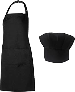 Homsolver Adjustable Bib Chef Apron Set, Chef Hat and Kitchen Apron Adult White Apron with Butcher Hat for Men & Women, White (Black)