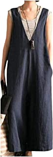 XINHEO Womens Deep V-Neck Art Palazzo Trousers Faded Overalls Long Jumpsuits