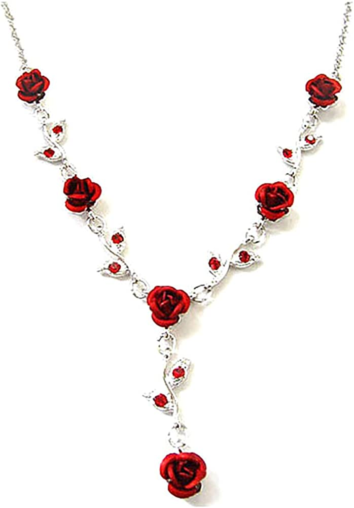 Women's Fashion Red Austrian Crystal Metal Rose Link Flower Necklace, 15