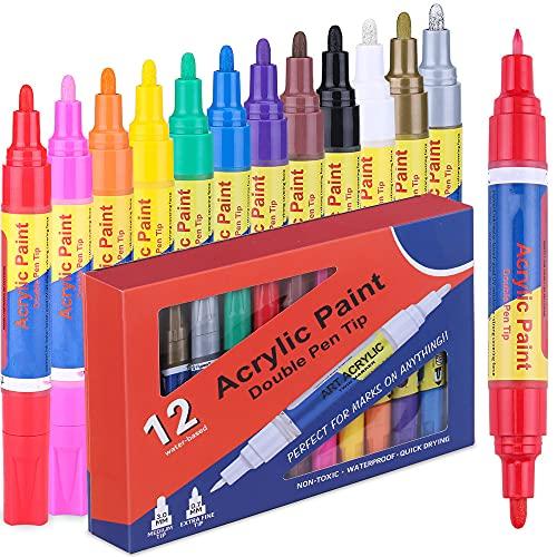 Doppelseitige Steine Bemalen Acrylstifte für Steine - 12 Farben Wasserfest Stifte Farbe für Holz, Leinwand, Fotoalbum, Glas, Metall