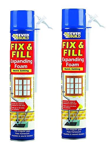 Fix & Fill Expanding Foam - Polyurethane Foam for Irregular Gaps, Fixes Framework, insulates and Sound deadens - 750ml - Beige - 2 Pack