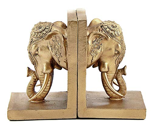 Bellaa 21817 Bookends Elephant Head Bookshelf Decor 7 inch