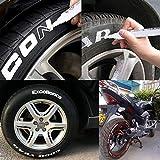 10 STÜCKE Reifenstift Marker Set, Sanmubo Universal Wasserdichte Permanent Stift Fit für Auto Motorrad Reifenprofil Gummi Metall, Weiß