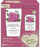Logona Naturkosmetik - Set de regalo de loción corporal mimosa (200 ml) y crema de manos mimosa (50 ml), rosa de Damasco biológico y manteca de karité ecológica, vegano
