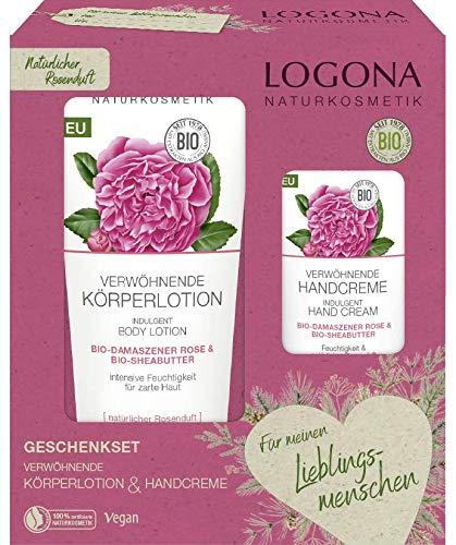 LOGONA Naturkosmetik Geschenkset Verwöhnende Körperlotion (200ml) & Verwöhnende Handcreme (50ml) Bio-Damaszener Rose & Bio-Sheabutter, Vegan
