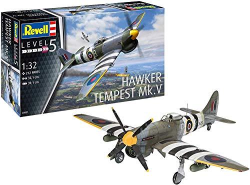 Revell- Hawker Tempest V Maqueta Fiel al Original para Expertos, Color Plateado (RV03851)