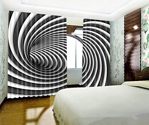 Home gardinen, 2 Stück Verdunkelungs Fenster wärmedämm Vorhänge für Schlafzimmer Wohnzimmer Kinder Jungen, Gestreift Vortex,2 * 1.6m