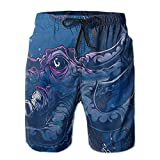 D-WOLVES Board Shorts for Men, Quick Dry Octopus Devilfish Animal Printed Swim Trunks Mens Beach Surf Shorts Mesh Lining Swimwear Bathing Suits for Home Vacation, Medium