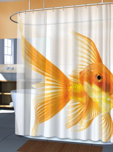 Funny Goldzilla Giant Goldfish shower curtain