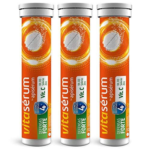 Vitaserum Defensas Forte 30 + 15 comprimidos | Vitamina C (600 mg), D3, Selenio y Zinc, ayuda a tu sistema inmunitario, cansancio y fatiga | Tratamiento 45 días