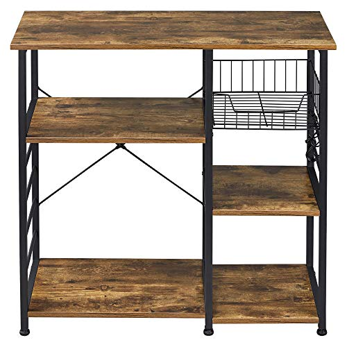 Yaheetech 355in Kitchen Standing Bakers Rack Industrial Kitchen Shelf OrganizerUtility Microwave Stand Metal Frame Wood Look wBasketHooksStorage Shelf for Spices Utensils Foods Rustic Brown