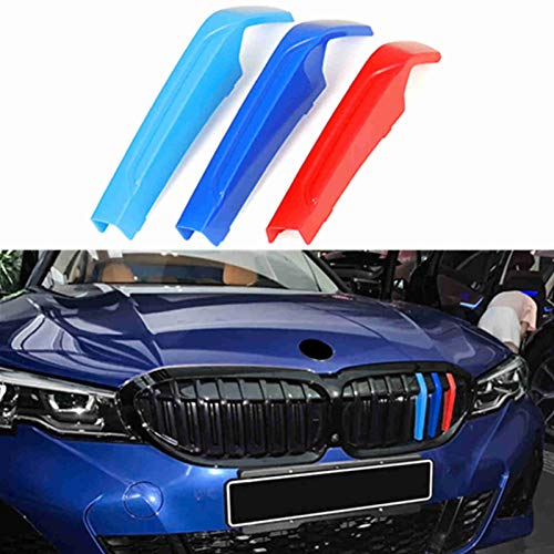 TOPGRIL M-Colored Stripe Grille Insert Trims M Sport Grille Insert Trim Strips For 2019-up BMW G20 G21 3 Series 330i 340i w/ (8-Beams ONLY)