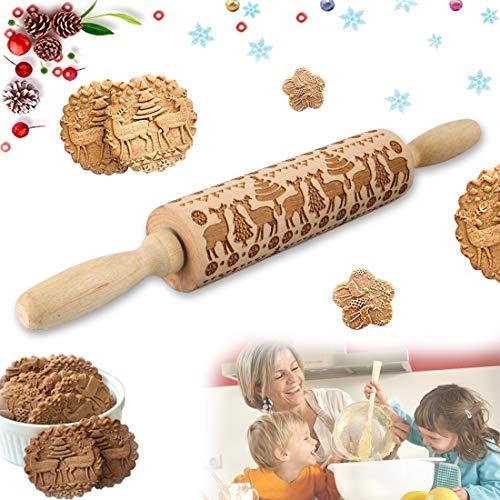 MELARQT Präge Nudelholz Weihnachten, Teigroller Holz Elch, Prägenudelhölzer, Elch Mustern Prägerolle, 3D Holz Nudelholz DIY Küchenwerkzeug Backzubehör für Fondant Teig Pizza Amygline geprägten Keksen