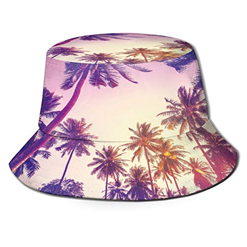 Unisex Bucket Sun Hats Galilee Sea Sunset Coconut Trees Fashion Summer Outdoor Travel Beach Fisherman Cap