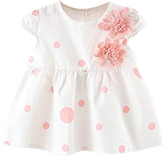 NUWFOR Toddler Baby Kids Girls Dot Flowers Skirt Princess Dresses Casual Clothes?Pink,18-24Months?