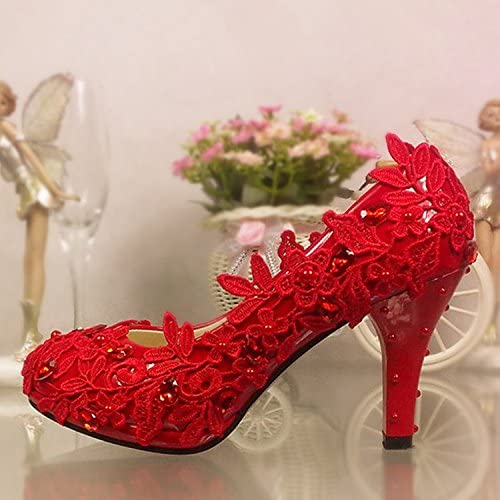 JINGXINSTORE Fleur dentelle Pearl Butterfly chaussures de mariage Chaussures de de mariée Chaussures de plate-forme High-Heeled Fleurs rouge Chaussures unique