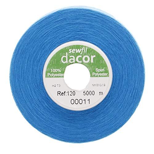 Sewfil dacor 120 - Cono de hilo de coser poliéster de 5.000 metros 0011 - Azul de metileno