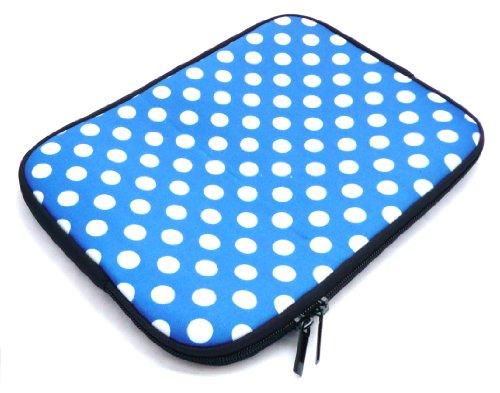 Emartbuy® Polka Dots Blau / Weiß Wasserabweisende Weiche Neopren Hülle Schutzhülle Case Cover mit Reißverschluss Amazon Fire HD 7 Tablet ( 7 Zoll eReader / Tablet / Netbook )