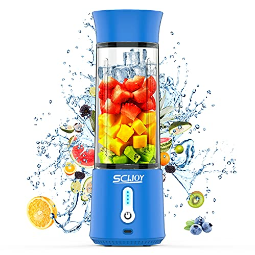 Portable Blender, SCIJOY Smoothie Blender, Personal Blender for Shakes and Smoothies,17 Oz 4000mAh Rechargeable Mini Small Shake Blender Six Blades Blue