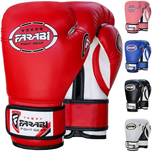 Farabi Guantoni da boxe junior per bambini Muay Thai Kickboxing Sparring Punching Bag Guanti da allenamento (Red, 8-oz)