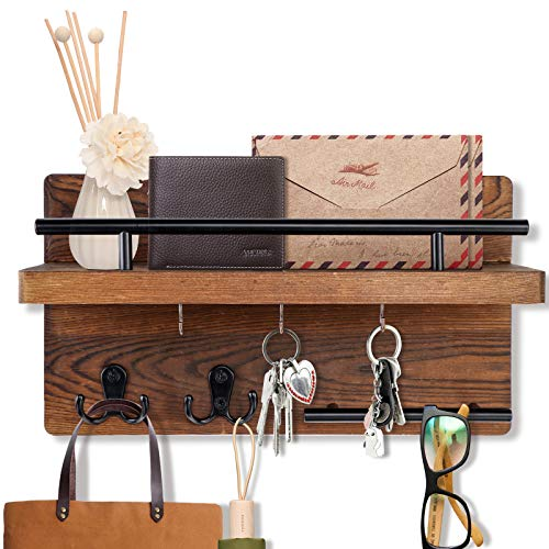 OurWarm Key Holder for Wall Decorative with 5 Key Hooks, Wooden Key Hanger for Wall with Mail Key...