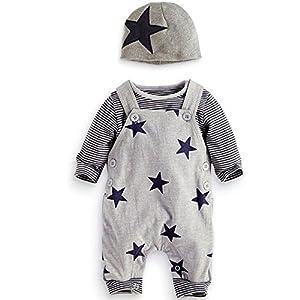 Traje Bebé, LANSKIRT 3PCS para Recién Nacido Bebé Niño Niña Camiseta a Rayas Top + Pantalones de Babero + Sombrero General Conjunto de Trajes