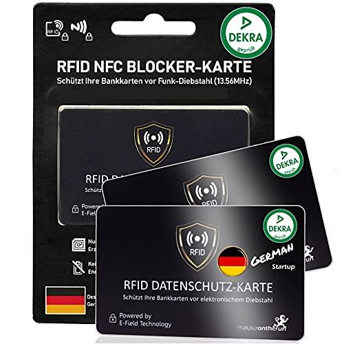 DEKRA gepr. RFID Blocker Karte Ultra dünn 0,8mm I Neuste 360° RFID NFC Blocker Karte I NFC Schutz für Geldbörse, EC- & Kreditkarte I Schutzkarte, Schutzhülle, Kartenhülle | 2 STK