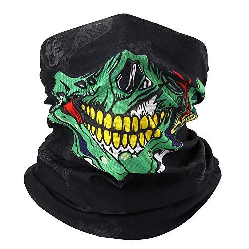 Ghost - Pañuelo para el cuello con forma de cráneo, para Halloween, bandana, bandana, unisex, para mujer, hombre, pasamontañas, para bicicleta, a prueba de viento, a prueba de polvo, color verde