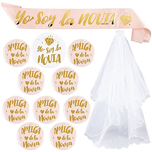 FLOFIA Kit 12pcs Despedida de Soltera Accesorios de Novia, Velo Blanco de Novia con Peine, Banda Fajín Novia, Broche Insignia Novia Dama de Honor para Boda Fiesta Decoración Ducha Nupcial