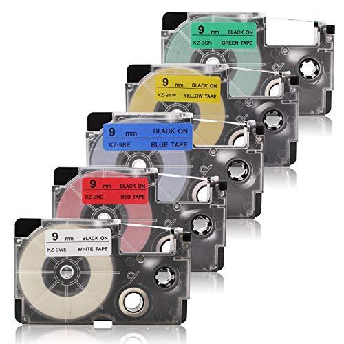 5x Labelwell 9mm x 8m Sostituzione Nastro per Etichette Compatibile per Casio XR-9WE XR-9RD XR-9BU XR-9YW XR-9GN per Casio KL-60 KL-120 KL-G2TC KL-HD1 KL-170PLUS KL-820 KL-60SR KL-70e KL-780 KL-200