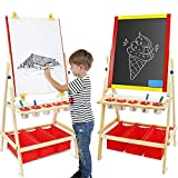 Leogreen - 2-en-1 Chevalet Enfants Multifonctions Tableau Double Face Tableau Noir et Blanc avec Support et Réglable 360 Degrés et Boîte de Rangement avec Accessoires, Jouet Educatif pour Enfants