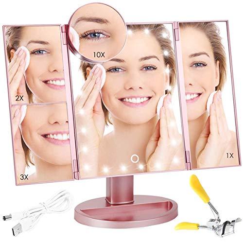 Jingobyne make-up spiegel met verlichting, 16 heldere leds, verlichte make-upspiegel, dimbaar, 27,9 cm horizontaal, wandmontage