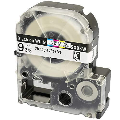 Kassette LC-3WBN LC-3WBN9 SS9KW schwarz auf weiß 9mm x 8m Schriftband kompatibel für Epson LabelWorks LW-300 LW-300L LW-400 LW-500 LW-600P LW-700 LW-900P LW-1000P Beschriftungsgerät