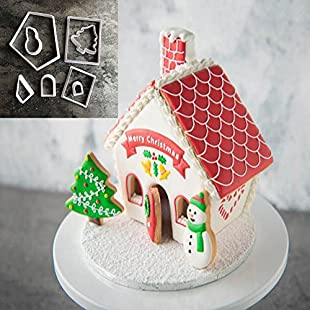 quanjucheer 8Pcs Christmas Tree Gingerbread House Mold Cutter Cookies Pastry Moulding Decor for Cupcake Bread Muffin Pudding:Tudosobrediabetes