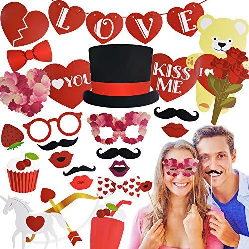 35PCS Accesorios para Cabina de Fotos del día de San Valentín, Kalolary Disfraz Creativo para Fotografía y Cartel de Amor para Selfies, Decoración para el día de San Valentín bodas cumpleaños fiestas